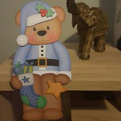 Christmas Teddy Bear in blue card and envelope Christmas Teddy Bear, Blue Christmas, Christmas Cards, Shelf, Greeting Cards, Etsy Shop, Handmade Gifts, 3d, Design