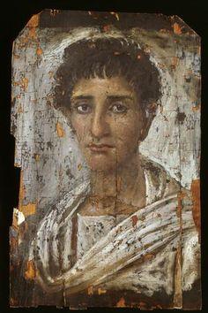 Portrait de momie d'un jeune homme, bois Fayoum Égypte   KMKG