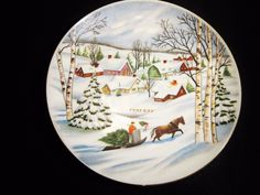 Lefton China Hand Painted Christmas Winter Collector Plate 1950's 8.5""