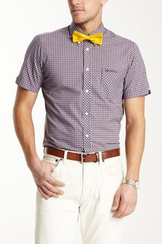 Great fitted shirt. Time to get a yellow bow tie for spring. Ben ShermanShort Sleeve Clerkenwell Collar Shirt | 36. - ok