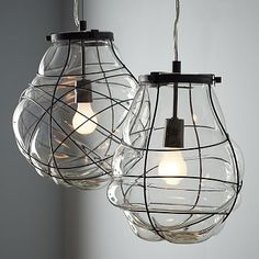What I wish was hanging from my bedroom ceiling instead of the one bulb - Organic Blown Glass Pendant from West Elm