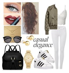 """""""Casual & Chic Outfit Style"""" by arianahoxha ❤ liked on Polyvore featuring beauty, adidas, 7 For All Mankind, MICHAEL Michael Kors, Yves Saint Laurent, Yoko London, Michael Kors and Fiebiger"""
