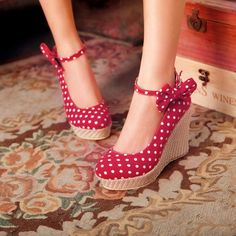 Adorable Polka dots and Bow Design Red Wedge Shoes