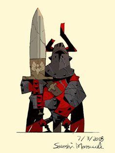 """ The character designs of Satoshi Matsuura ( )"" Game Character Design, Character Design References, Fantasy Character Design, Character Design Inspiration, Character Concept, Character Art, Concept Art, Cartoon Knight, Knight Drawing"