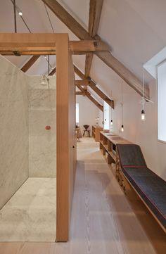 The Boathouse by Alex Cochrane Architects. Straight grain oak, Carrara marble, Dinesen Douglas fir floor boards.