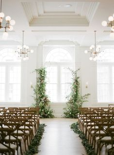 To celebrate Spring (and three cheers for daylight savings), we selected 28 greenery wedding decor ideas that are as fresh as they come for spring weddings. From beautiful floral installations to wedd Wedding Ceremony Ideas, Indoor Wedding Ceremonies, Ceremony Seating, Indoor Ceremony, Backdrop Wedding, Wedding Church, Wedding Aisles, Wedding Reception, Budget Wedding