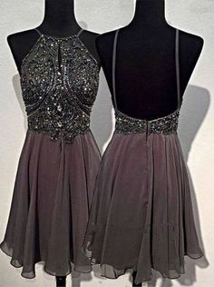A Line Round Neck Homecoming Dresses,Short Grey Backless