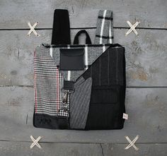 "Black and grey square backpack from recycled men's suits, by ""EatingTheGoober"""
