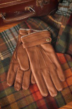 HONEY Mens Windproof Wrist Length Fingertips Touchscreens Gloves Merino Sheepskin Shearling Leather Color : Khaki