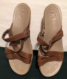 45eb66c91 Crocs A Leigh Tan Leather Strappy Cork Wedge Comfort Sandals Women s Size  8W  fashion