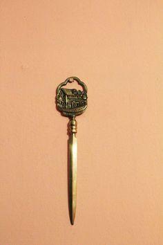 Vintage Solid Brass Envelope Knife Shakespeare House Stratford on Avon Letter Oppener by Grandchildattic on Etsy