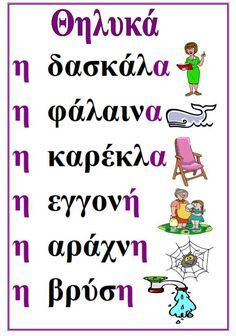 Picture Speech Language Therapy, Speech And Language, Primary School, Elementary Schools, Greek Writing, Grammar Posters, Learn Greek, Greek Language, Greek Alphabet