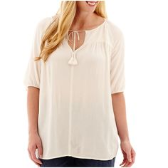 Plus Size a.n.a Elbow-Sleeve Woven Smocked Peasant Blouse White ($20) ❤ liked on Polyvore