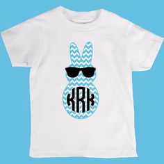 Easter Chevron Peep Bunny w/ Glasses and Monogram Onesuit or Kid's T-Shirt - 2 Color