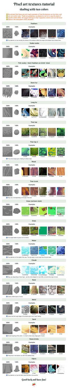 Pixel art tutorial - shading / textures + examples by UszatyArbuz.deviantart.com on @DeviantArt