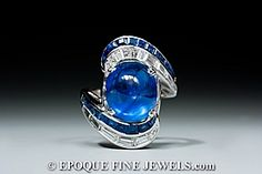 - A late 1930's sapphire and diamond ring,