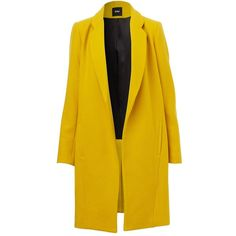 MINIMALIST COAT (€130) ❤ liked on Polyvore featuring outerwear, coats and yellow coat