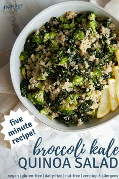 This 5-Minute Broccoli Kale Quinoa Salad from Nutrition to Fit is a deliciously light and healthy grain salad. It's packed with nutrients and is naturally gluten-free and free of all of the top 8 most common food allergens.