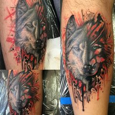 Wolf trash polka tattoo