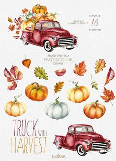 Watercolor Red Truck with Pumpkins Autumn leaves. Watercolor Red, Watercolor Illustration, Watercolor Paintings, Illustration Animals, Autumn Art, Autumn Leaves, Fall Drawings, Marker Art, Retro Cars