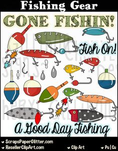 Fishing Gear Clip Art, Commercial Use, Clipart, Digital Image, Png, Graphic, Digital, Instant Download, Fish, Fisherman, Fishing, Lure, Bait by ResellerClipArt on Etsy