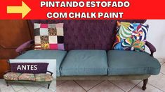 CHALK PAINT: Pintando ESTOFADO!!! Sofa, Couch, Diy Videos, Chalk Paint, Youtube, Throw Pillows, Bed, Painting, Furniture