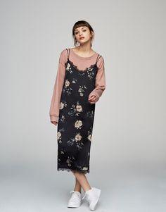 Floral slip dress - Dresses - Clothing - Woman - PULL&BEAR United Kingdom
