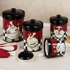 Chef de Cuisine Canister Set Multi Warm Set of Four