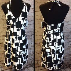 SZ 10 FABULOUS GEO PRINT HALTER DRESS/KIM ROGERS Sexy yet classy dress with stretch to the fabric for a fabulous fit and bold print. Kim Rogers Dresses