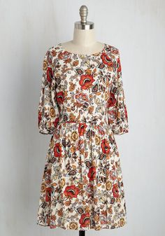 Pep Right Up Dress - Floral, Print, Casual, Boho, Festival, A-line, 3/4 Sleeve, Summer, Woven, Better, Mid-length, HP Featured, Orange, White, Work