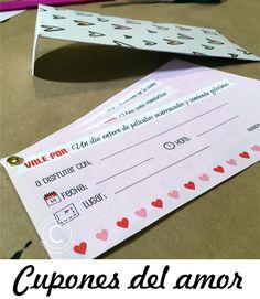 Cupones románticos imprimibles para el día de San Valentín <3   Valentine's Day   Día del Amor y la Amistad.   Descarga estos románticos cupones y entrégaselos a ese ser especial con el que quieres disfrutar de ellos ;) Además mira como hacer el sobre para entregarlos :D Que los disfrutes! <3