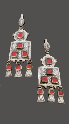 Morocco - Central Anti Atlas region, Earrings -silver, niello, red glass cabochons