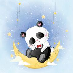 pando na lua Vetor Premium Illustration Inspiration, Baby Illustration, Panda Wallpapers, Cute Cartoon Wallpapers, Cute Panda Wallpaper, Little Panda, Baby Clip Art, Belly Painting, Baby Kind