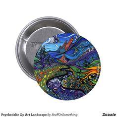Psychedelic Op Art Landscape Button
