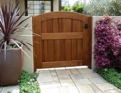 Garden Wooden Gate, Archtop, Attached to Stucco Wall using Clear Cedar Jambs - traditional - fencing - orange county - Sederra Wooden Garden Gate, Wooden Gates, Concrete Block Walls, Cement Walls, Side Gates, Entrance Gates, Front Gates, Wooden Gate Designs, Backyard Gates