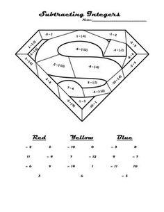 Subtracting Integers Superman Coloring Sheet