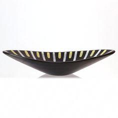 21-113 Hjördis Oldfors Trio 1954 Upsala–Ekeby bowl-05 Yellow Line, Ceramic Decor, Earthenware, Matte Black, Sweden, Decorative Bowls, Console, 1950s, Sculpture