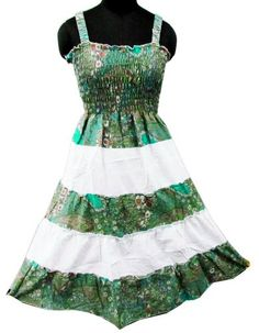 Ibaexports White Green Cotton Summer Dress Floral « Clothing Impulse.. I actually find this cute
