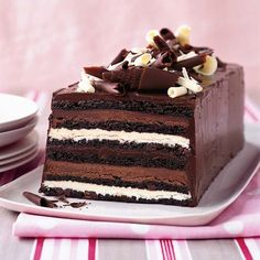 Chocolate Truffle Layer Cake from Food & Wine magazine. chocolate cake with layers of white chocolate and milk chocolate ganache with chocolate frosting recipes chocolate Just Desserts, Delicious Desserts, Dessert Recipes, Yummy Food, Holiday Desserts, Healthy Food, Delicious Chocolate, Picnic Recipes, Healthy Cake