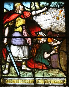 """Stained glass window in the church of the Holy Innocents, High Beech, depicting 1 Chronicles 14:13 """"Once again the Philistines made a raid in the valley.""""  This glass was made by Mayer of Munich."""