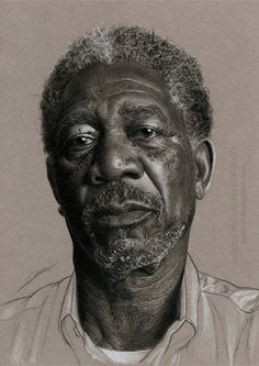 """Morgan Freeman"" - AmBr0 {contemporary figurative realism artist male head celebrity man face portrait pencil drawing #loveart} ambr0.deviantart.com"
