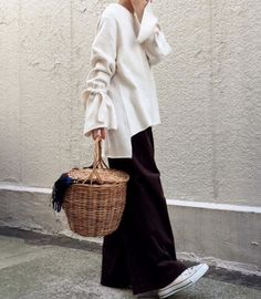 ❖ sweater {check} wide legs pants {check} natural chucks {check} great basket for knitting project {check} Happy Sunday! ❖