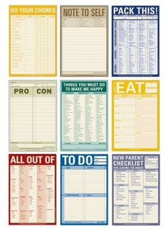 Note Pads for Living. I'm such a nerdy list-maker that I want one of each. Well, except the New Parent Checklist. To Do Planner, Planner Pages, Life Planner, Printable Planner, Happy Planner, Free Printables, Planner Inserts, Password Printable, Journaling