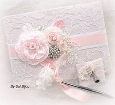 Wedding Guest Book and Signing Pen, Signature Book in White and Light Pink with Lace and Pearls