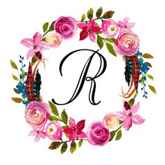 Monogram Boho Printable Initial Floral Initial Nursery Beautiful Gifts For Her, Beautiful Dolls, Floral Letters, Monogram Letters, Cool Alphabet Letters, Name Wallpaper, Picture Letters, Stencil Art, Aesthetic Iphone Wallpaper