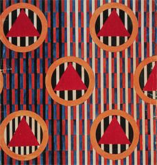 Lyubov' POPOVA, textile design: red triangles in circles, watercolor on paper (no dimensions given).