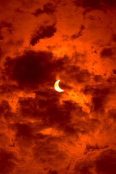 Half moon in red sky #photos #nature #beauty #surreality