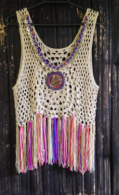 Handmade Crochet Fringed Boho Top with Vintage Mirror by SpellMaya