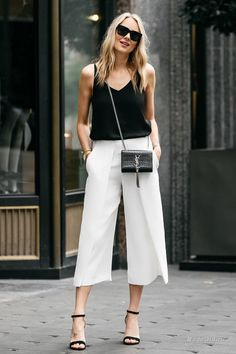 Silk Cami top with white culottes Heels Outfits, Mode Outfits, Chic Outfits, Summer Outfits, Fashion Outfits, Womens Fashion, First Date Outfits, Fashion Tips, White Culottes Outfit