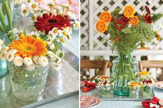 Create an inexpensive but beautiful centerpiece by arranging clipped flowers from your yard in casual glass jars.